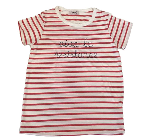 Striped Viva La Resistance Embroidered Women's t-shirts  ***Indigo stripe also AVAILABLE