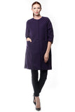 Purple Wool Collarless Coat (Plus Sizes)