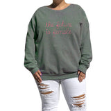 The future is female eco fleece Sweatshirt with pink embroidery