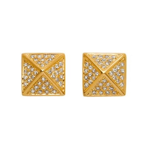 Diamond pave pyramid Gold Post stud Earrings