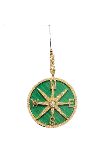 Malachite Compass necklace yellow gold