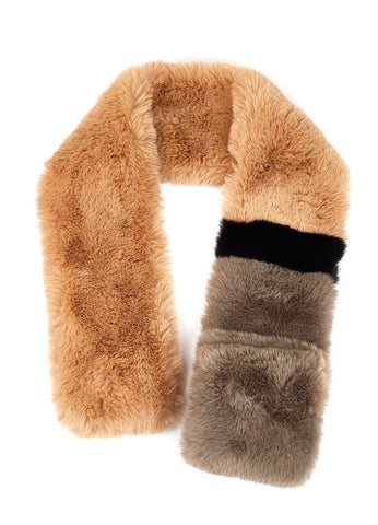 Notch slip in scarf in faux fur color block stripe in 3 colors
