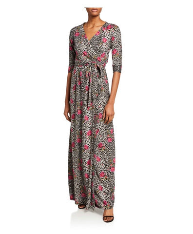 Classic maxi wrap dress in leopard floral soft knit sweater  jersey