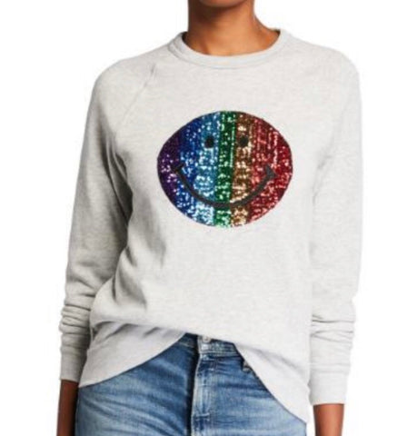 Smiley face sequins  organic unisex sweatshirt
