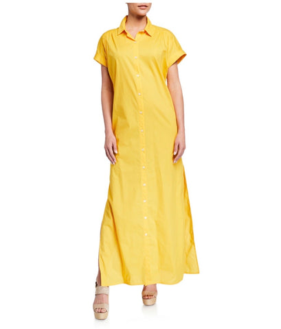 Shirt dress Maxi Poplin Dress in Marigold Yellow