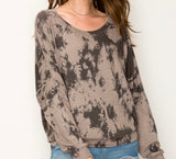 Tie dye dolman sleeve grey comfy top