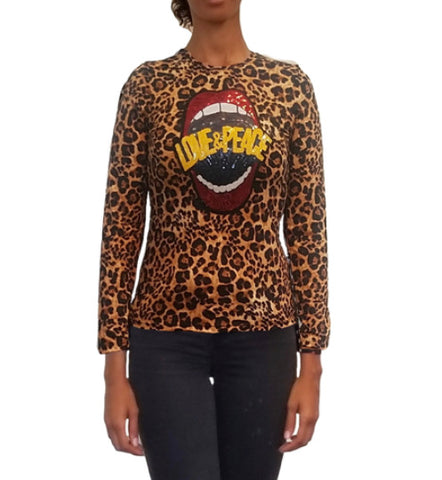 Love and Peace Sequins Leopard Print T-Shirt