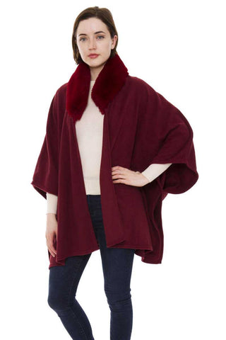 Cape with faux fur collar- wine