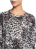 Animal print French terry sweatshirt dress with diamond sequins Appliques