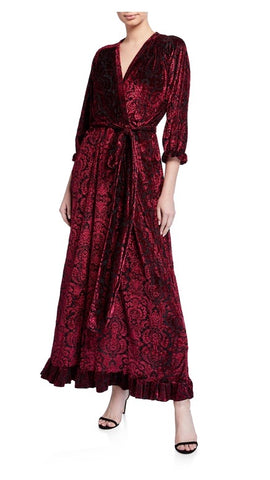 Tapestry Red Velvet Maxi faux wrap with self belt bottom ruffle hem in wine/black