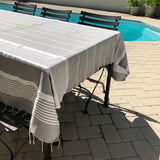 Monogram striped fringe tablecloth