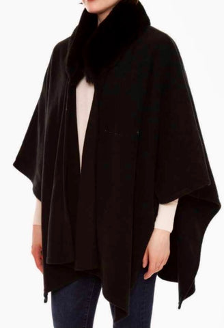 Cape with faux fur collar- black