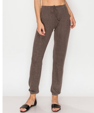 Our softest cozy olive knit- Lounge pants with elastic drawstring pants  at ankles