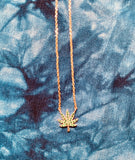 Cannabis necklace available in rose or white gold