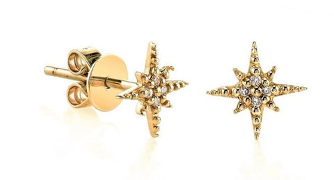 Starburst diamond and yellow gold stud earrings