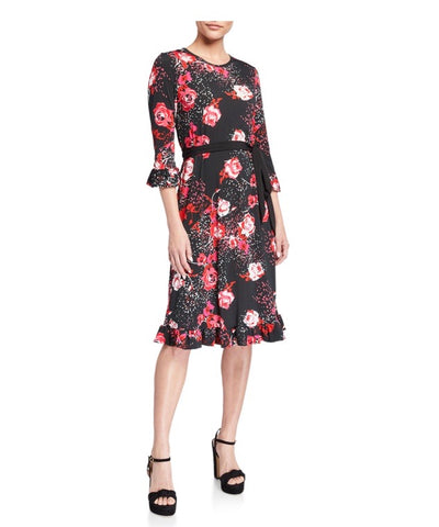 Pink/Red floral Flounce hem and ruffle sleeve cuff Dress