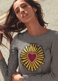 Vida Heart Applique Striped T-Shirt