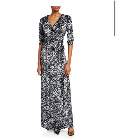 Classic wrap maxi dress in leopard print crushed velvet  jersey