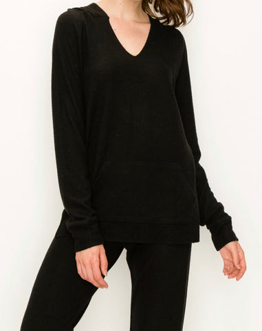 Our softest knit hoodie v-neck in comfy brushed Jersey- black