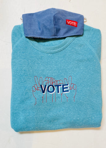 VOTE embroidered organic sweatshirt