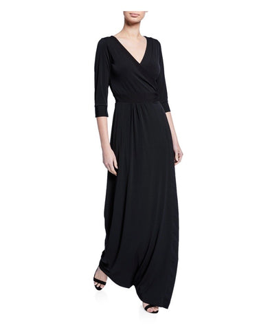 Wrap dress in maxi length in our classic Black Luxe Jersey Dress