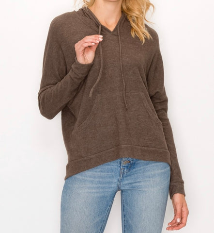 The softest olive knit  hoodie with drawstring