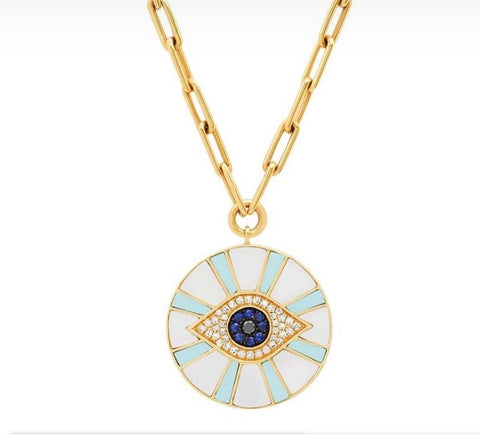 Mother of pearl, Turquoise and diamond evil eye on chain necklace