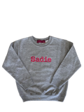Youth size Pullover sweatshirt with personalized with embroidered monogram or Name