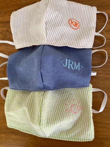 Monogram reversible face masks for men, women & youth