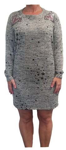 Classic Long Sleeve Crew Neck Dress in Foiled French Terry