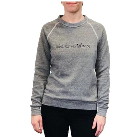 Viva La Resistance Charcoal with navy Embroidery Eco Fleece Sweatshirt