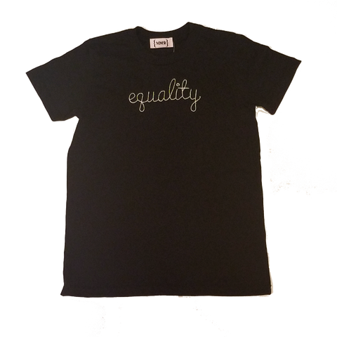 Black Equality Toddler T-Shirt W/ White Embroidery