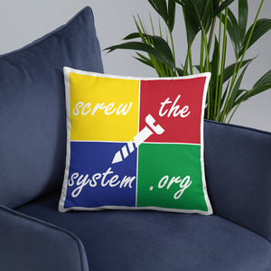 SCREW THE SYSTEM SQUARES PILLOW