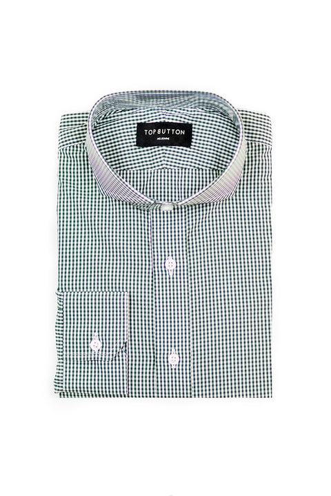Gingham – Green - Top Button Custom Shirts Melbourne