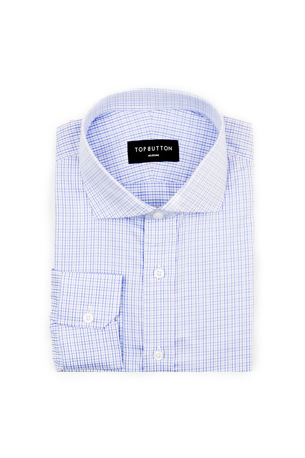 Aran – Blue - Top Button Custom Shirts Melbourne