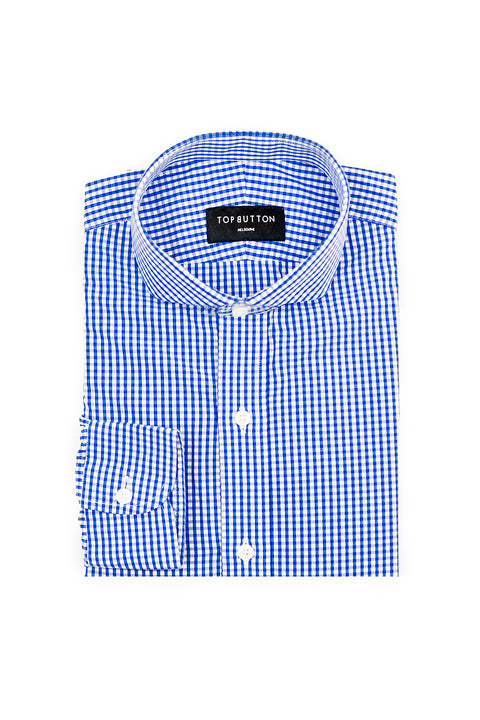 Window Check – Blue - Top Button Custom Shirts Melbourne