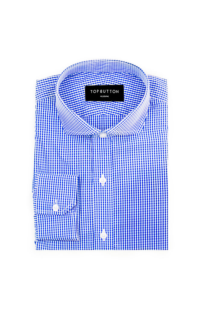 Gingham – Blue - Top Button Custom Shirts Melbourne