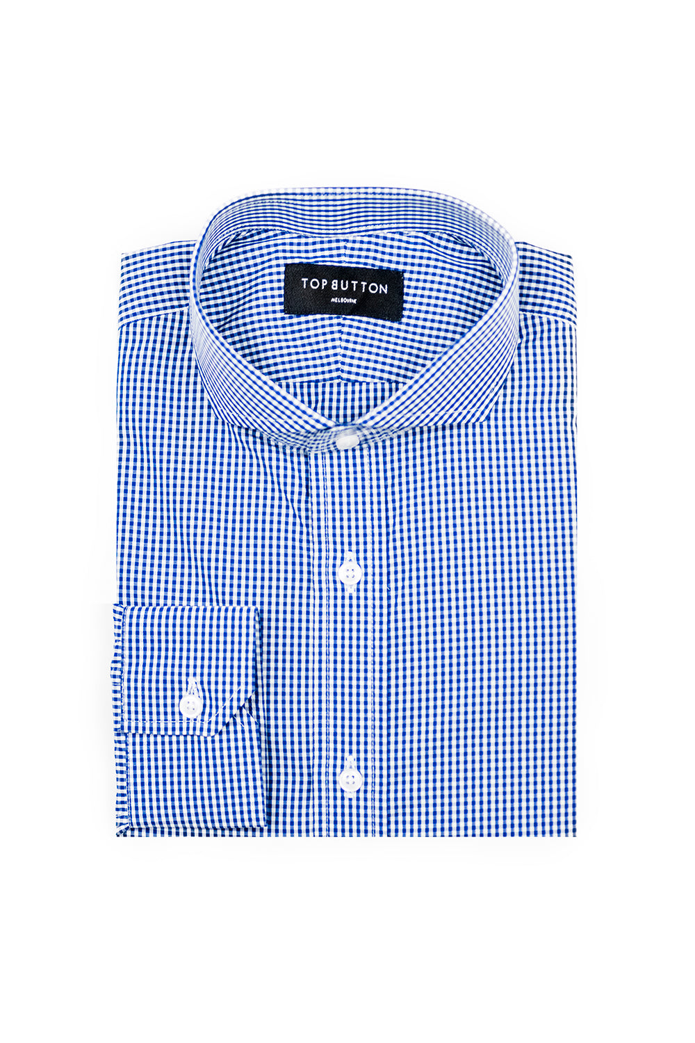 Gingham – Navy - Top Button Custom Shirts Melbourne