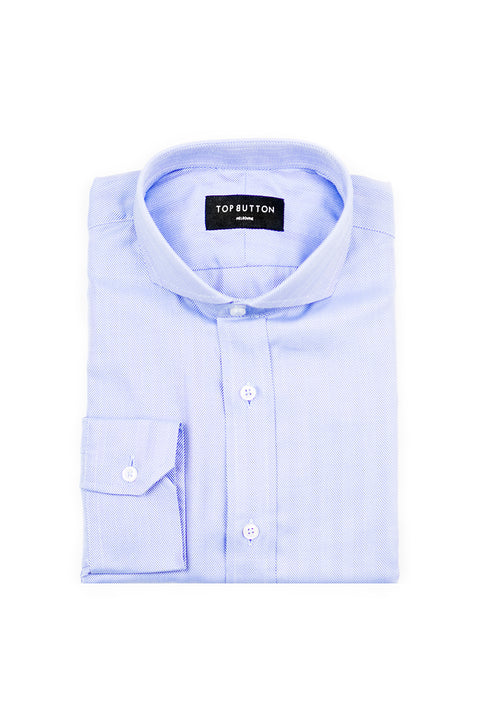 Herringbone – Blue - Top Button Custom Shirts Melbourne