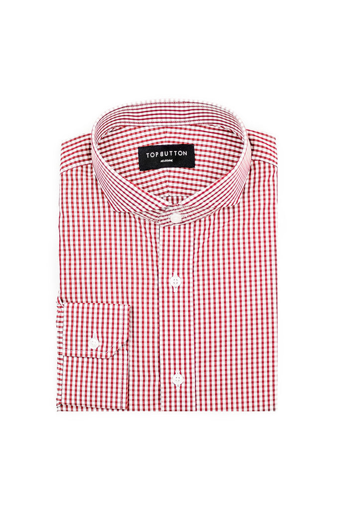 Window Check – Red - Top Button Custom Shirts Melbourne