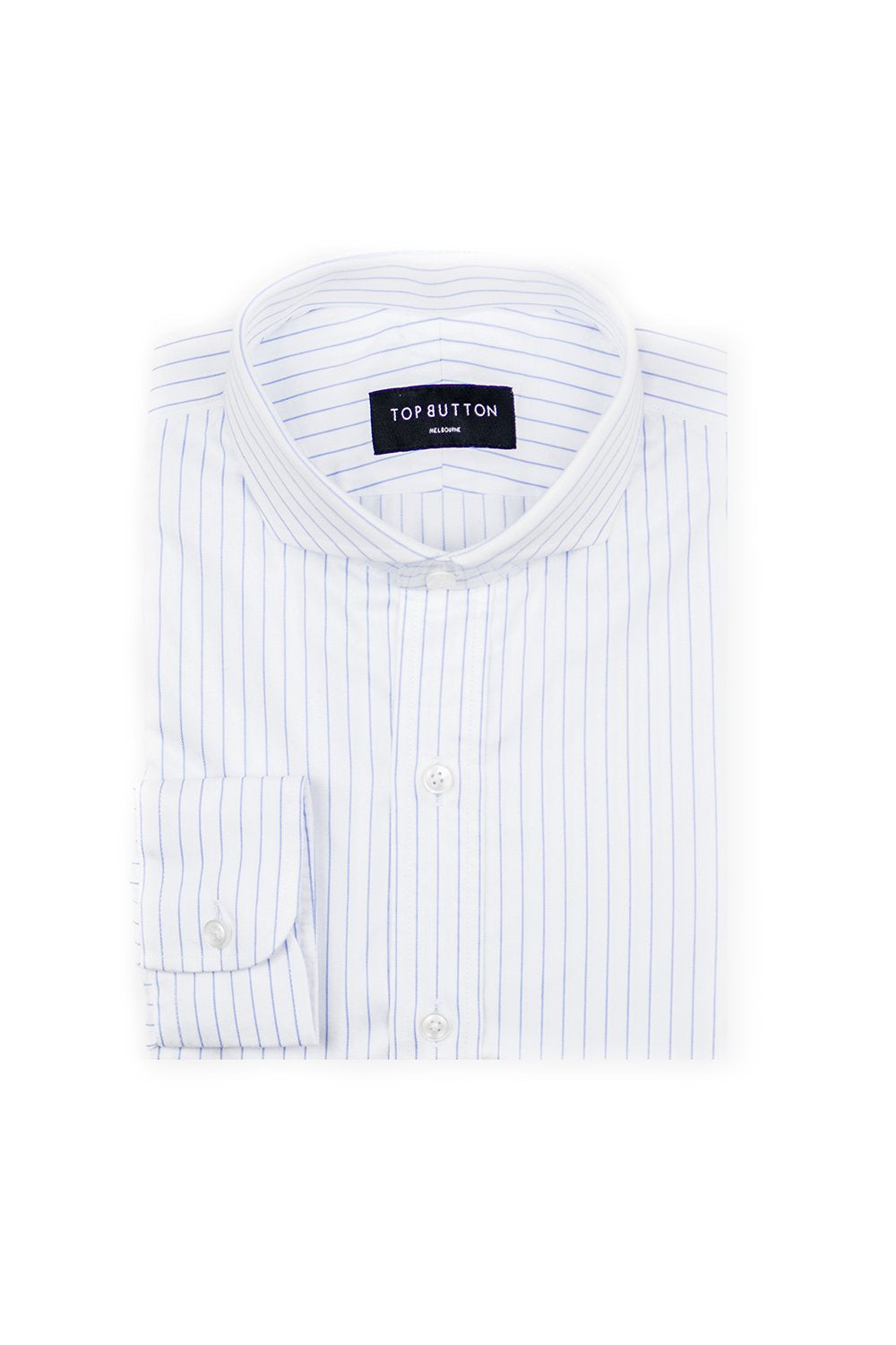 Pin Stripe – Blue - Top Button Custom Shirts Melbourne
