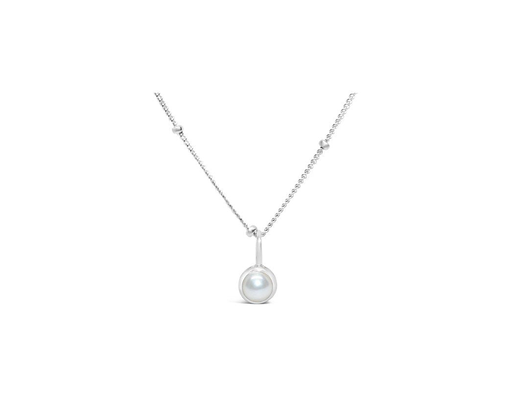 Stia Jewelry: Pearl CZ Birthstone Necklace
