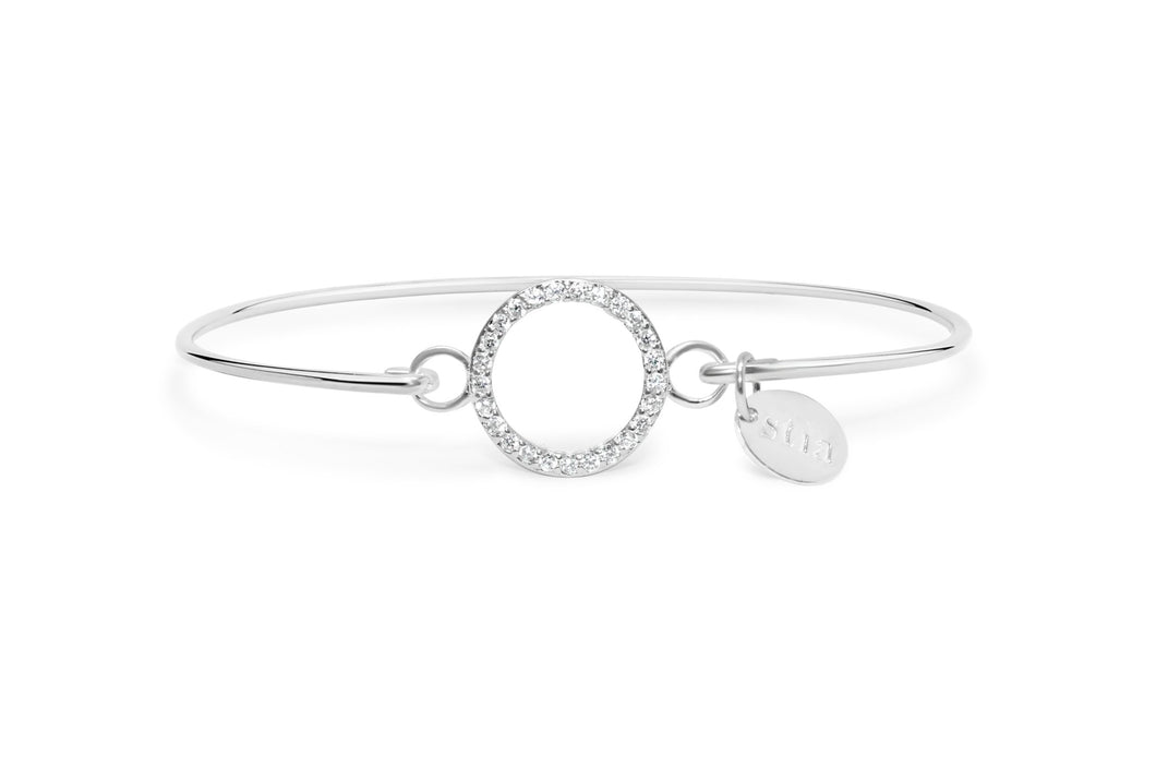 Stia Jewelry: Pavé Icon Bracelet Circle Sterling Silver