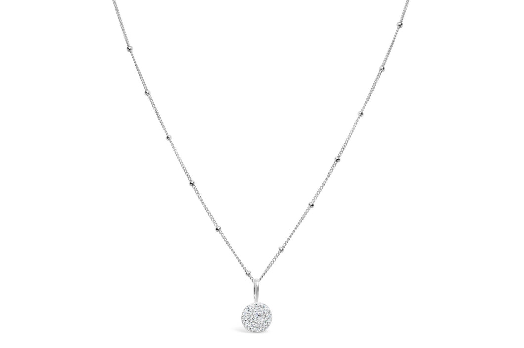 Stia Jewelry: Charm & Chain Necklace Pavé Disk