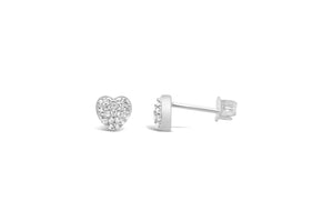 Pavé Heart Sterling Studs
