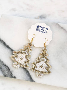 Prep Obsessed - Glitzy Beaded Christmas Tree Statement Earrings - White
