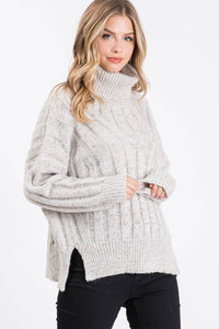 Allie Rose - Oatmeal Turtleneck Knit Sweater