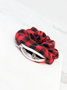 Prep Obsessed Wholesale - Hidden Pocket Hair Scrunchie - Red/Black Buffalo Check