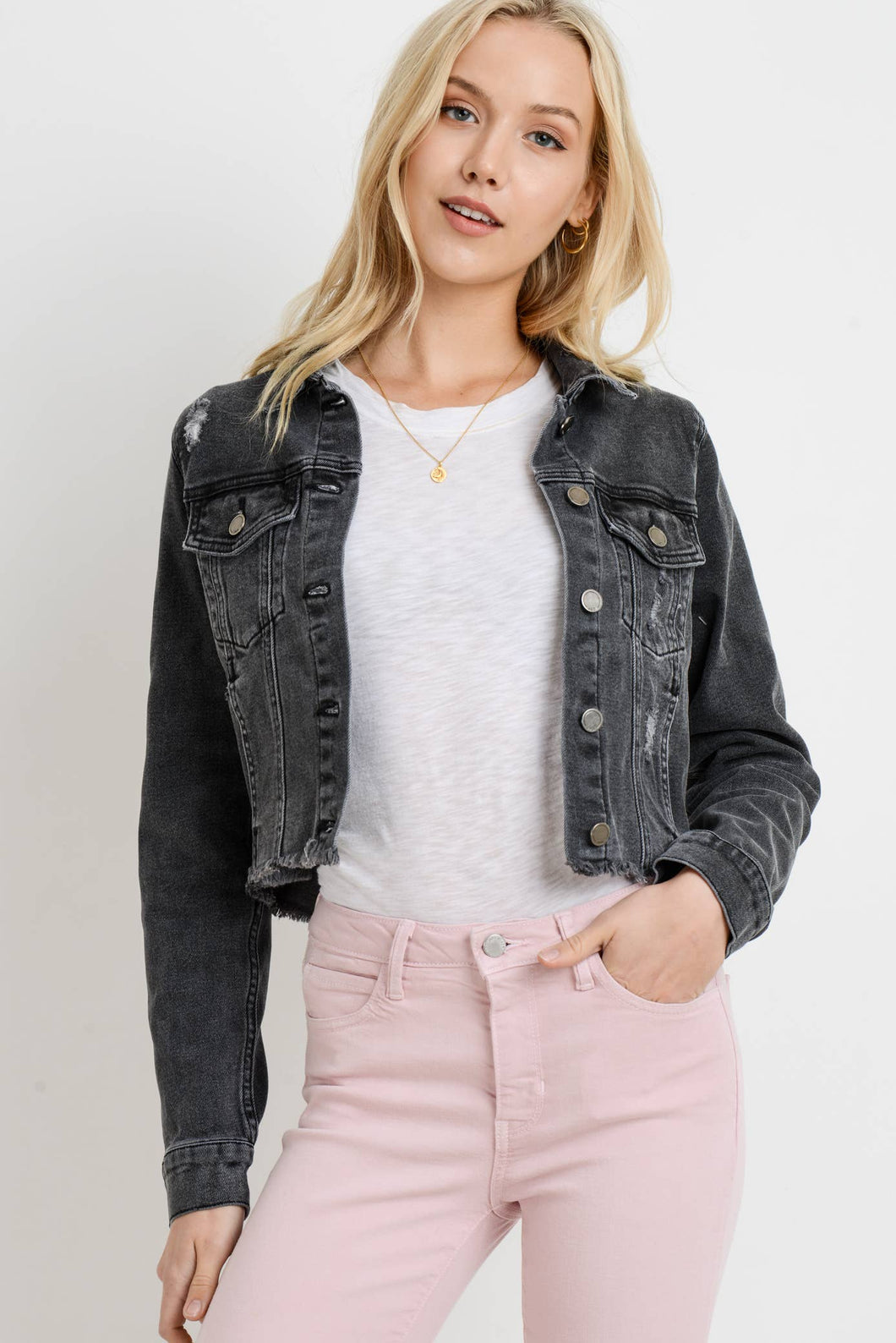 Frayed Cropped Distressed Denim Jacket