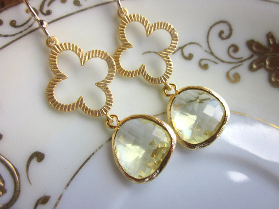 Laalee Jewelry - Citrine Earrings Gold Clover Quatrefoil
